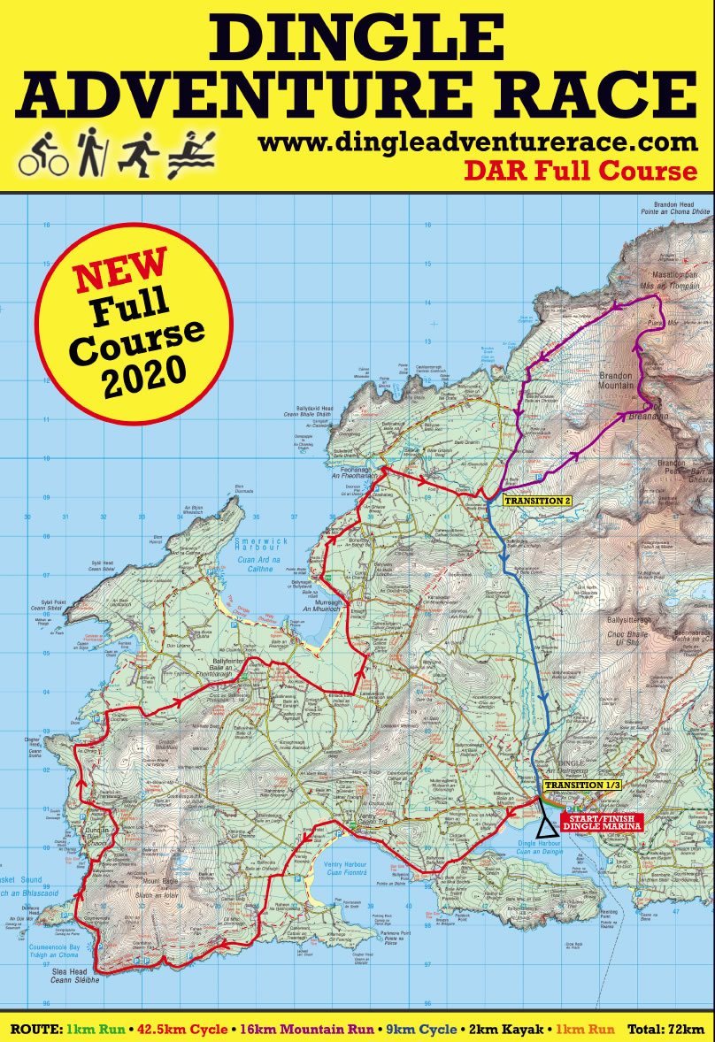 Full Map Of Ireland.Dingle Adventure Race Full Kerry Ireland Course Info