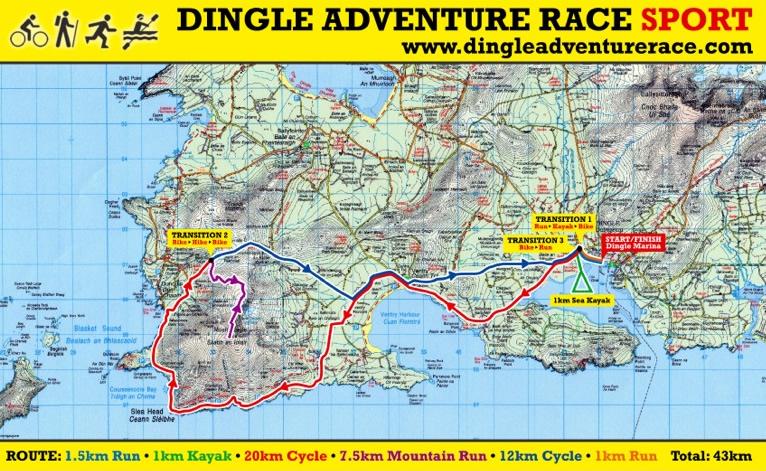 Map Of Ireland Showing Dingle.Dingle Adventure Race Sport Kerry Ireland Course Info